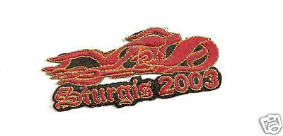 "STURGIS RALLY PATCH 2003 RED FLAMES MOTORCYCLE ""NEW"""