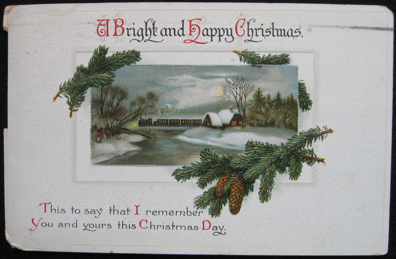Primary image for International Art, Divided-back, Embossed, Christmas Postcard, A Bright and Happ