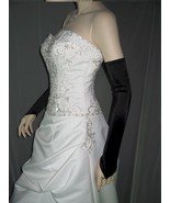"23"" Black Fingerless Satin Wedding Bridal Opera Party Prom Costume Glove... - $9.99"