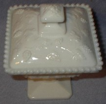 Westmoreland Milk Glass Beaded Grape Covered Pedestal Candy Dish - $19.95