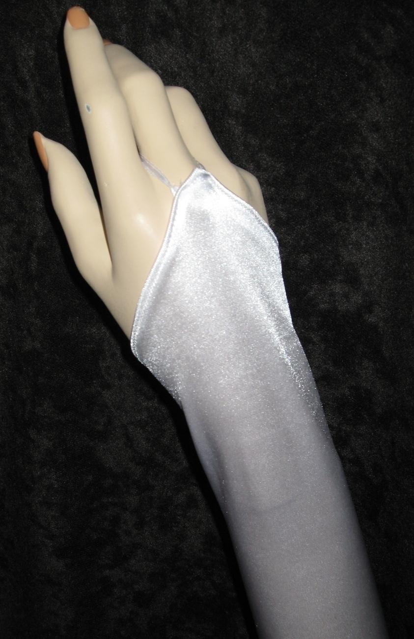 "23"" White Fingerless Satin Stretch Wedding Bridal Opera Prom Party Gloves g3w23"