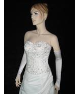 "23"" White Fingerless Satin Stretch Wedding Bridal Opera Prom Party Glove... - $8.99"