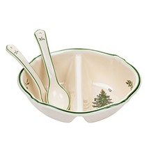 Spode Christmas Tree Divided Serving Dish with 2-Spoons - $38.20