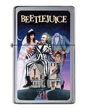 Beetlejuice Flip Top Lighter Brushed Chrome with Vinyl Image - $23.99