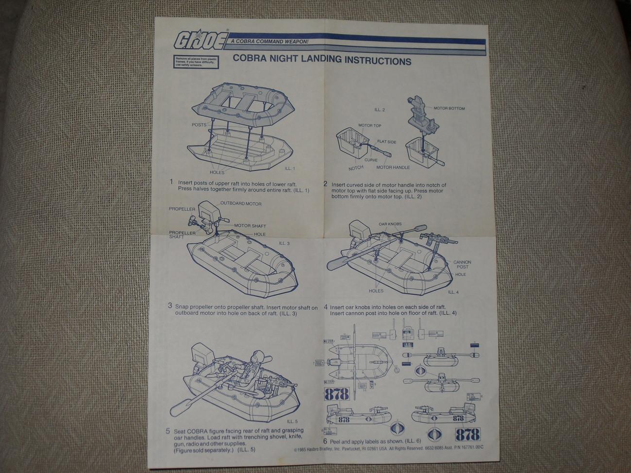 Vintage 1985 GI Joe Cobra Night Landing With Instructions