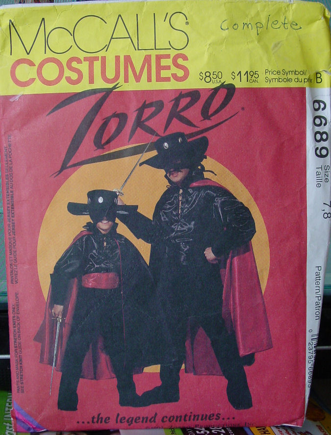 Pattern 6689 Child sz 7-8 Zorro Costume (used)