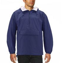 Men's Water Resistant Windbreaker Hooded Half Zip Pullover Rain Jacket image 11