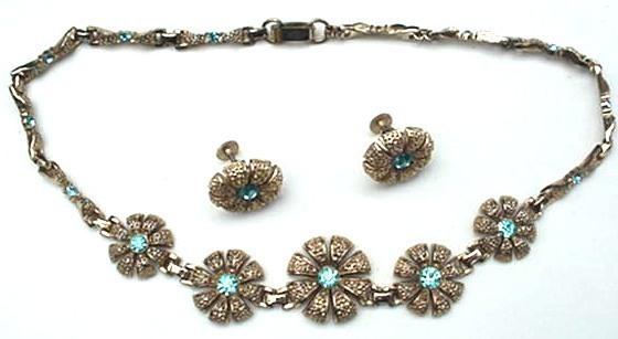Old Lustern Ice Blue Rhinestone Necklace & Earrings Set