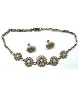 Old Lustern Ice Blue Rhinestone Necklace & Earrings Set - $20.00