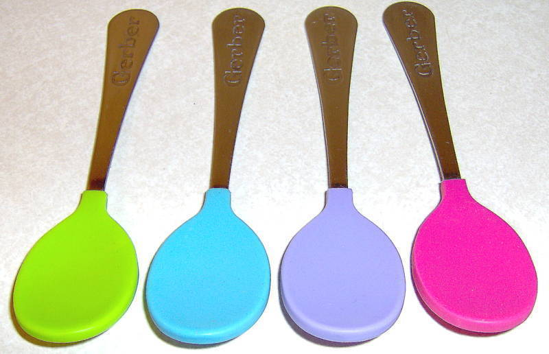 Lot 4 Gerber Toddler Soft Bite Coated Child's Spoons
