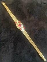 Vintage Red Rhinestone & Mesh Gold Tone Bracelet - $43.77