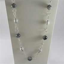 925 STERLING SILVER NECKLACE WITH GREY QUARTZ AND WHITE HOWLITE 23,62 IN image 1