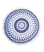 "Large Round Beach Pool Yoga 60"" Terry Towel Mat Blanket With Tassels - G... - £11.89 GBP"