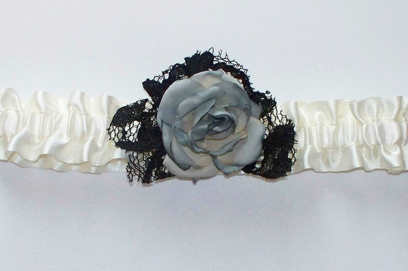 LIZ Steampunk Inspired Ivory Garter with Black Lace and Platinum/Taupe Rose