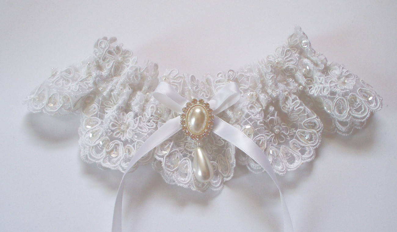 KATHERINE White Beaded Alencon Lace Garter with Bow and Pearl/Crystal Detail