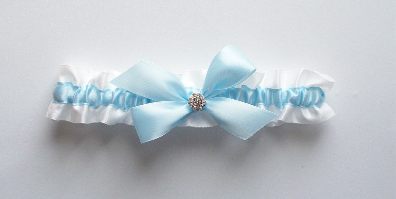 La Petite KAYLA Light Blue and White Satin Ribbon Garter with Blue Bow and Rhine