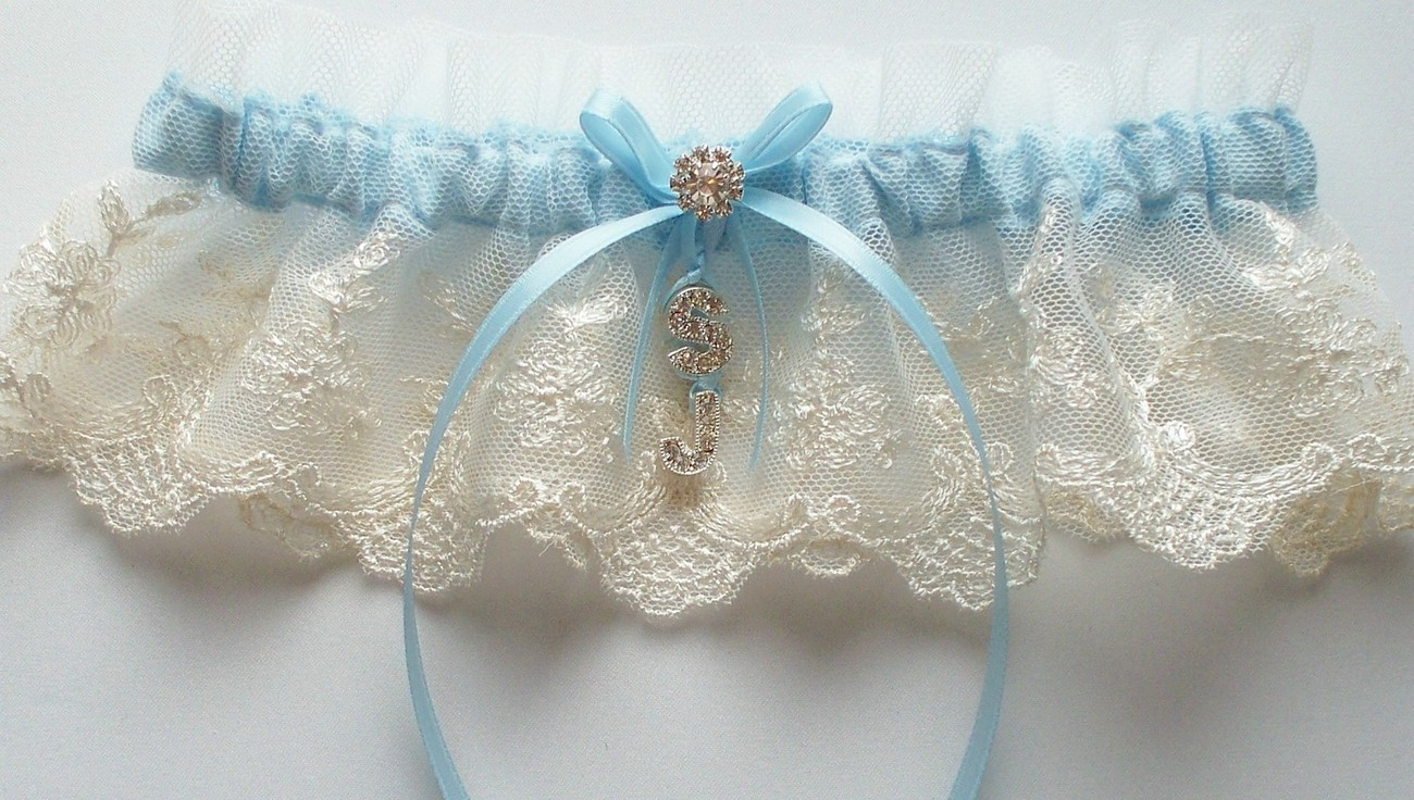 SHEENA Personalized Ivory Net Lace Garter with Blue Ribbon Bow and Rhinestone In