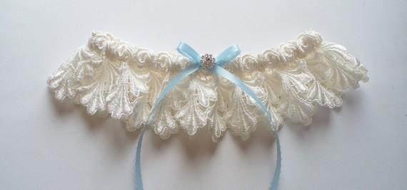 La Petite JILLIAN Ivory Lace Garter with Light Blue Picot-Edge Ribbon Bow and Sw