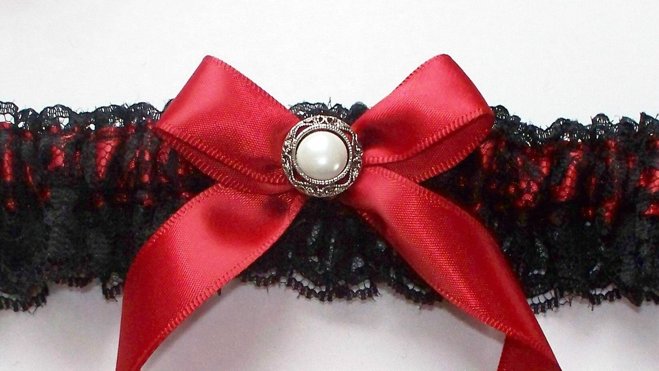 GINGER Black Lace over Red Satin Garter with Vintage Look Pearl Centered Red Sat