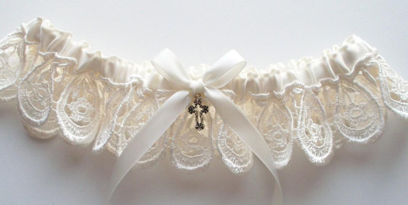 NATASHA Ivory Venise Lace Garter with Ivory Satin Ribbon Bow and Cross Charm