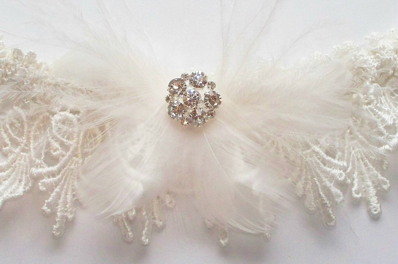 The ELIZABETH Ivory Venise Lace Garter with Feather and Rhinestone Detail