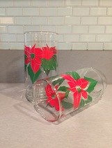 Vintage 70s Red Poinsettia and Green leaves Christmas cocktail glasses image 2