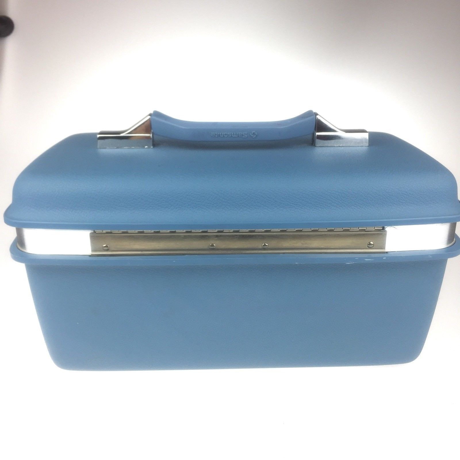 Vintage Samsonite Light Blue Train Case Mirror Montbello II Hard Side Makeup