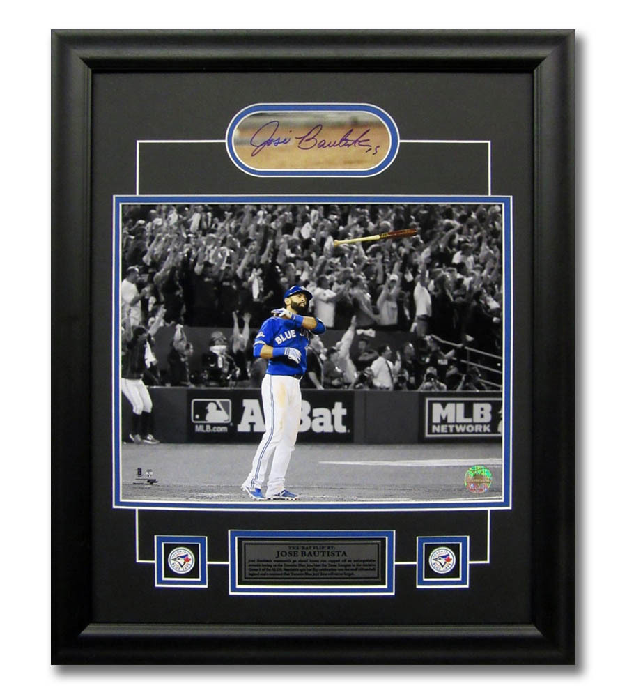 Primary image for Jose Bautista Toronto Blue Jays Cut Autograph 2015 ALDS Bat Flip 23x19 Frame