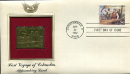 FIRST VOYAGE of COLUMBUS : Approaching Land First Day Gold Stamp Issue  - $5.50