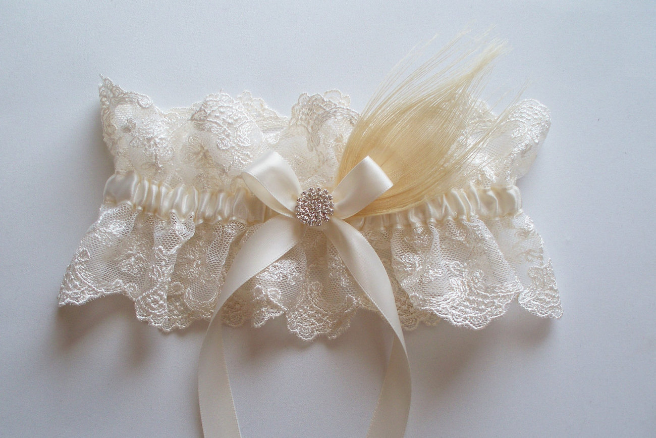 JASMINE Ivory Lace Garter with Peacock Feather, Satin Bow and Crystal Center
