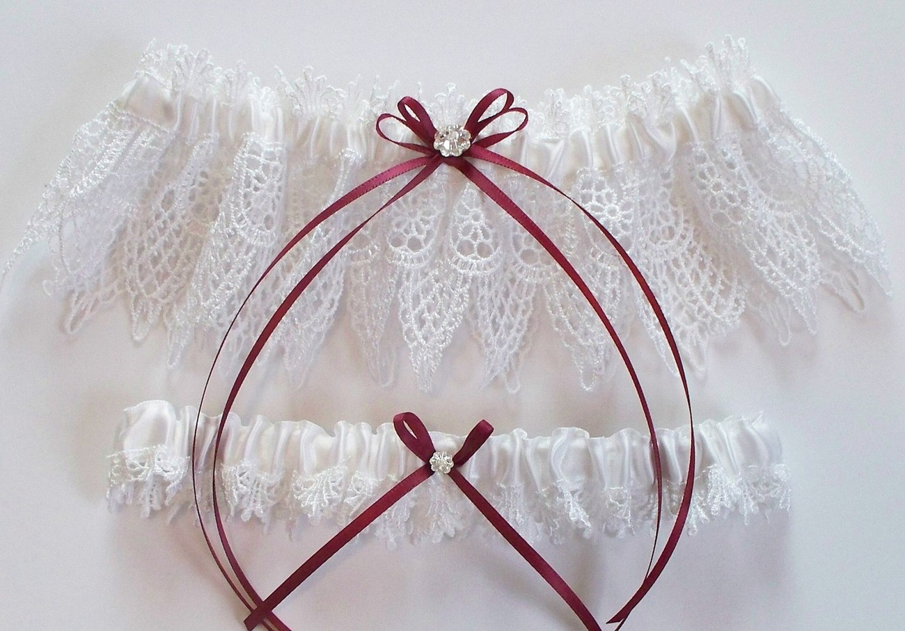 The ANDREA Garter Set in White Venise Lace with Custom Color Double Satin Bow an