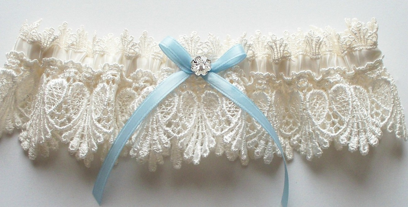 La Petite ALICIA Garter in Ivory Venise Lace with Blue Ribbon Bow and Crystal