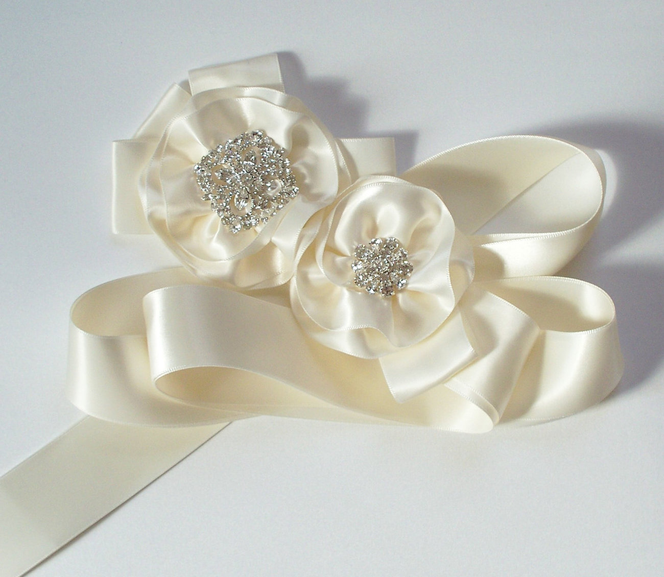 The DIANA Ivory Bridal Sash with Crystal Accents