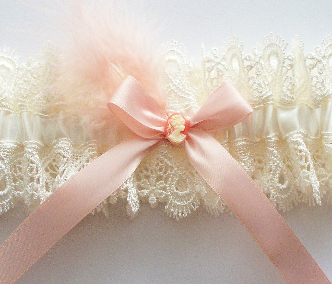 CAMI Ivory Lace Garter with Blush Pink Bow, Small Cameo Centering and Feather