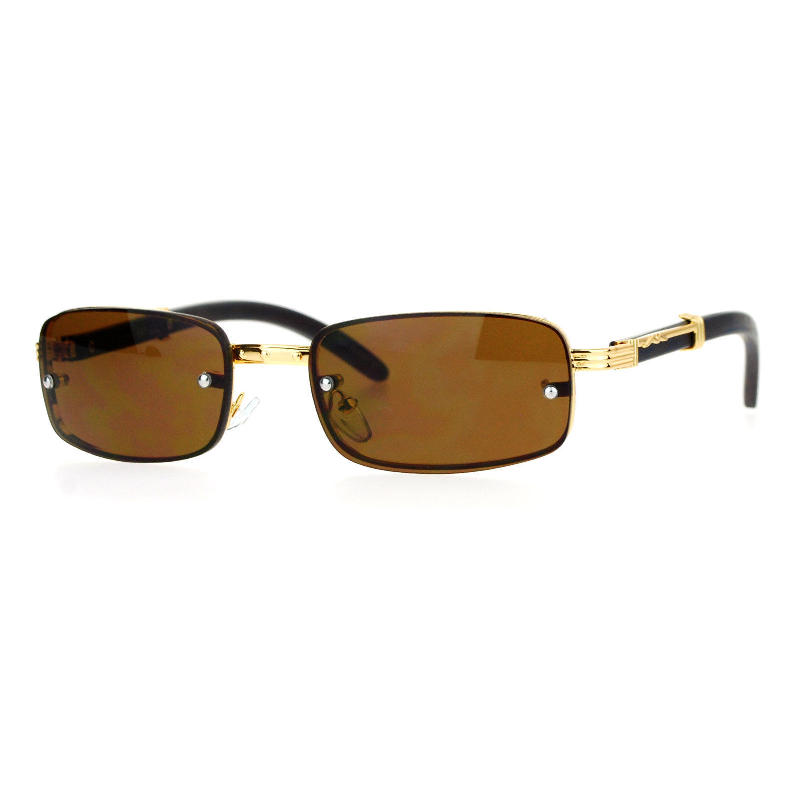 Rimless Look Rectangular Sunglasses Unisex Vintage Designer Fashion Shades