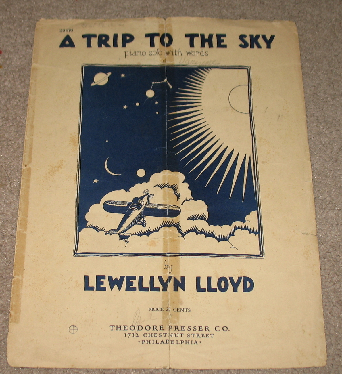 A Trip to The Sky Sheet Music Piano Solo w/ Words 1939