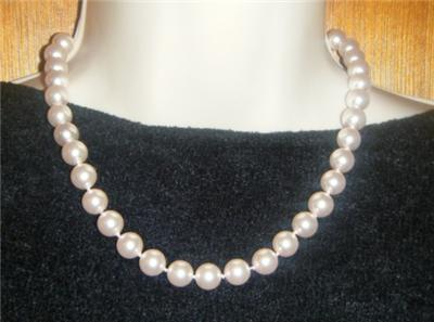 "10MM Pink Pearl Necklace 18"" New With Tag"