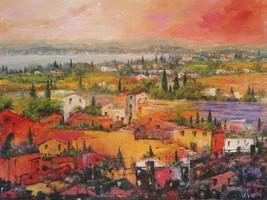 Villaggio delle Praterie  by Tebo Marzari 24x32  Abstract Landscape Canvas Print - $246.51