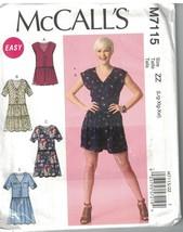 7115 UNCUT Vintage McCalls SEWING Pattern Misses Pull on Romper Dress Easy OOP - $9.99