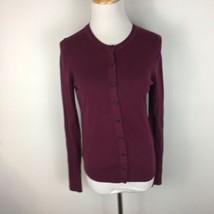 LOFT Ann Taylor Women's Maroon Dark Button Front Cardigan Sweater Size Small  - $16.82