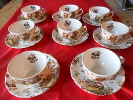"Great  JOHNSON BROS. England ""Autumn's Delight"" Ironstone Set 8 CUPS & S... - $43.37"