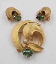 Vintage Lisner Jade Faux Pearl Modern Swirl Textured Brooch Earrings Dem... - $39.58