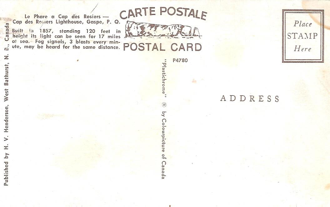 Henderson, Full Bleed Plastichrome Postcard, Cap des Rosiers