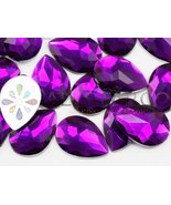 25x18mm Purple Amethyst H105 Flat Back Teardrop Acrylic Gemstones High Q... - $5.35