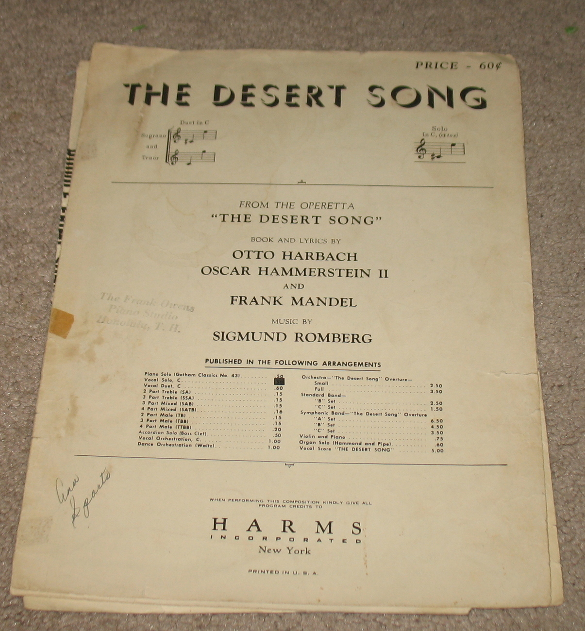 The Desert Song Sheet Music - 1926 - Duet in C