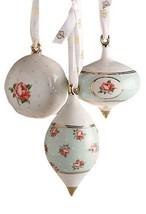 Royal Albert Polka Rose 3 Piece Christmas Ornament Set NEW IN THE BOX  - $59.39