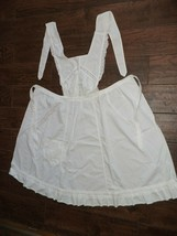 VINTAGE handmade white full bib apron - $19.79