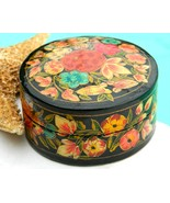 Vintage Lacquer Trinket Box India Papier Mache Art Handmade  - $18.95