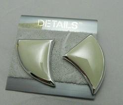 VTG 1980's Details Silver Tone Enamel Taupe Cream Post Earrings - $7.92