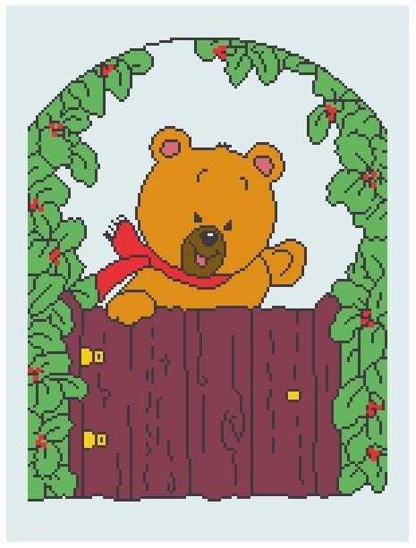 Garden Gate Bear Crochet Graph Afghan Pattern